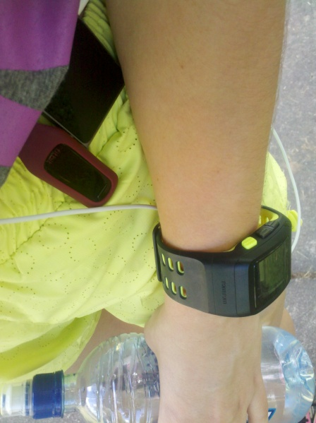 Out for a run with the Nike+ watch, the iPod Nano (with Nike+ software) and the Fitbit because there's no such thing as too many tracking devices.
