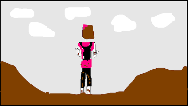 My hands were so caked with mud I didn't dare take my phone out for any photos so I made you a really realistic representation of what I'm pretty sure I looked like from behind.